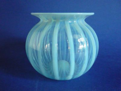 Lovely Charles Kempton Blue Ribbed Opalescent Glass Posy Vase c1890 (Sold)